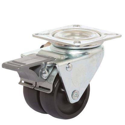 Immagine di Ruota gemellata in poliammide 6, supporto rotante piastra e freno, colore nero, portata 90 kg, Ø 50x17 mm