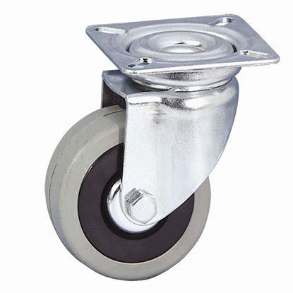 Immagine di Ruota in gomma grigia, nucleo in polipropilene c/parafili, supporto rotante c/attacco a piastra, portata 35 kg, Ø 50 mm