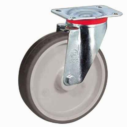 Immagine di Ruota in gomma termoplastica grigia, nucleo in polipropilene, supporto rotante piastra, portata 100 kg, Ø 100 mm