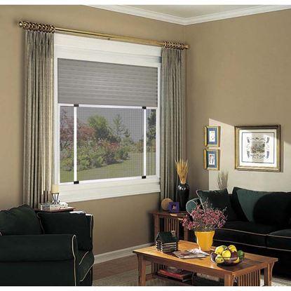 Immagine di Zanzariera, con telaio alluminio, spazzolino,  colore marrone , 50x75 cm