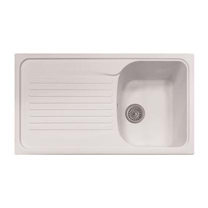 Immagine di Lavello Harmony, 1 vasca, con gocciolatoio, reversibile, materiale composito Ultraquartz, 86x50 cm, colore bianco