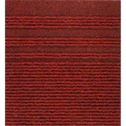Immagine di Passatoia Genova, agugliato verticale con bande laterali, in polipropilene, spessore 7 mm, h 67 cm, colore rosso