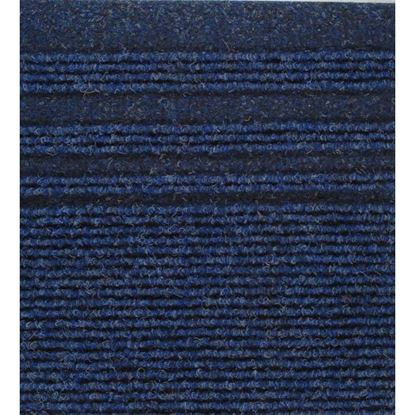 Immagine di Passatoia Genova Notte, agugliato verticale con bande laterali, in polipropilene, spessore 7 mm, h 67 cm, colore blu