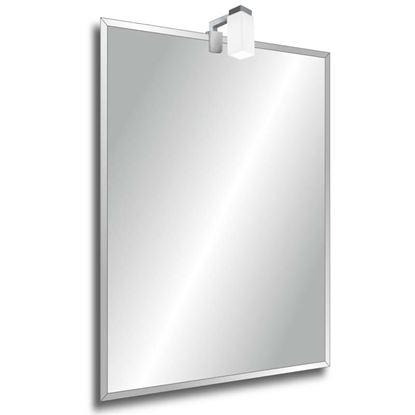 Immagine di Specchio Deco, 60x80 cm, bisellato, con telaio appendibile in verticale o orizzontale, lampada G9 inclusa