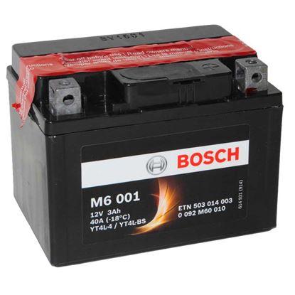 Immagine di Batteria moto Bosch, M6006, ermetica, con acido a corredo e dispositivo per il riempimento, 12 V-6 Ah, polarità dx