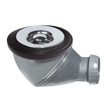 Immagine di Piletta doccia PVC Wirquin, Ø 60 mm, uscita Ø 40 mm, ispezionabile, orientabile, griglia ABS, cromato