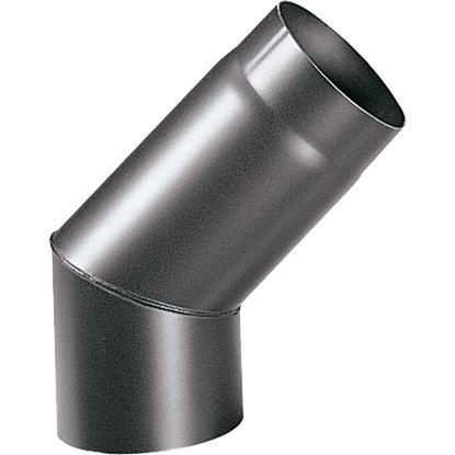 Immagine di Curva 45° per stufa a legna spessore 2 mm, colore nero, Ø150 mm