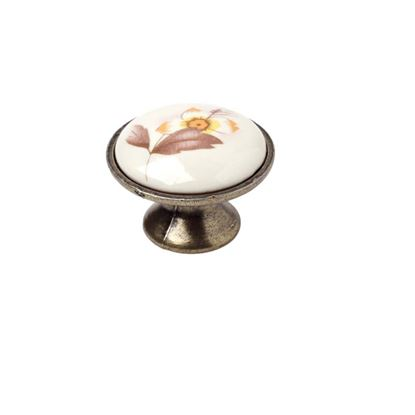 Immagine di Pomolo bianco floreale, 30 mm