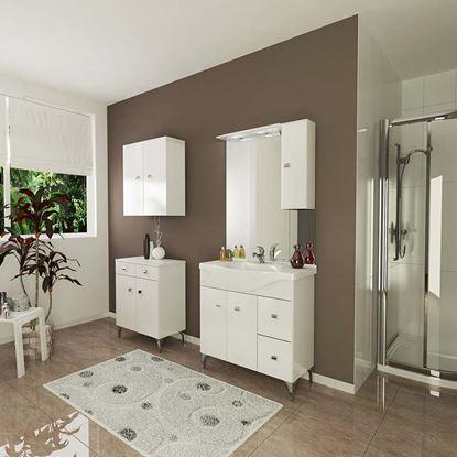 Immagine di Mobile bagno Moon 85 cm, 2 ante, 2 cassetti lavabo in ceramica specchio con illuminazione alogena pensile dx bianco