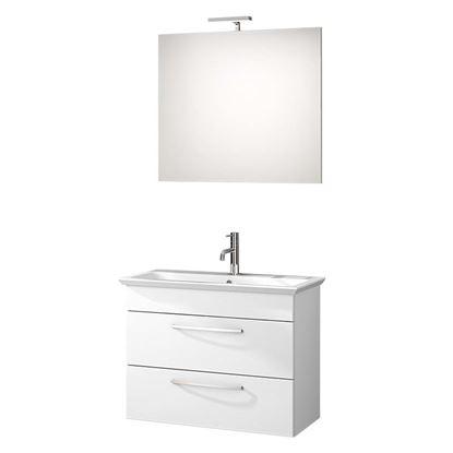Immagine di Base porta lavabo Giò 80, laccato lucido bianco, 2 cassetti, 79x37xh60 cm
