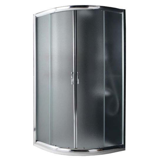 Immagine di Box doccia Giada, semicircolare, profilo alluminio anodizzato cromo lucido, cristallo 6 mm opaco, 80x80xh185 cm