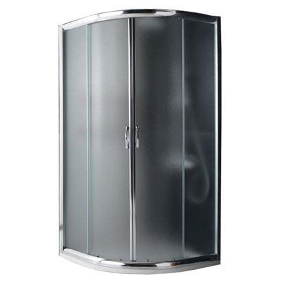 Immagine di Box doccia Giada, semicircolare, profilo alluminio anodizzato cromo lucido, cristallo 6 mm opaco, 90x90xh185 cm
