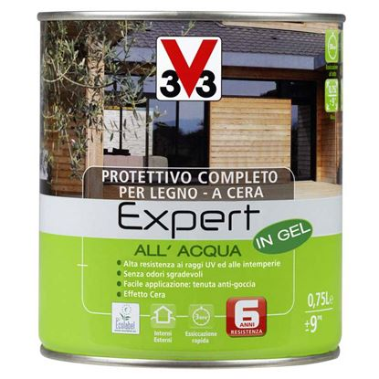 Immagine di Protettivo all'acqua V33, Expert, per legno, in gel, decora ed impermeabilizza il legno, 0,75 lt, colore bianco