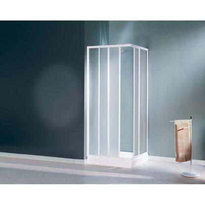 Immagine di Box doccia Mediterraneo, profilo bianco, cristallo stampato 3 mm, 64/74x80/90 cm