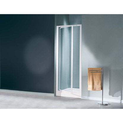 Immagine di Porta doccia Mediterraneo, battente, profilo bianco, acrilico, 77/81 cm