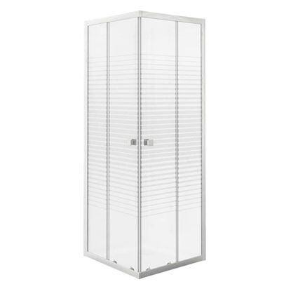 Immagine di Box doccia Gala, profilo alluminio bianco, cristallo temperato 4 mm, con serigrafia, 80x80xh185 cm