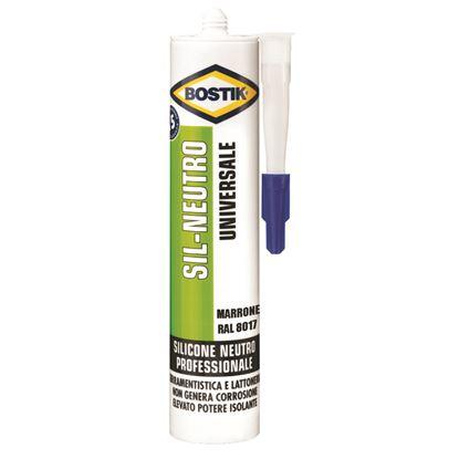 Immagine di Silicone Bostik Sil-Neutro, per sigillature elastiche, durature e resistenti alle muffe, 300 ml, colore marrone RAL 8017