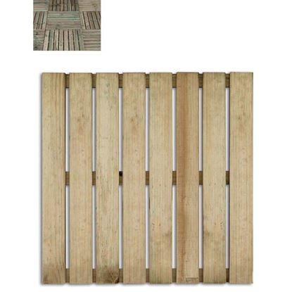 Immagine di Mattonella Twig, in legno di conifera impregnato in autoclave, 8 listelli rettangolari zigrinati 14 mm, 50x50x2,8 cm
