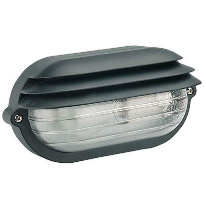 Immagine di Plafoniera ovale Palpebra, diffusore in vetro stampato, IP54, E27-60 W, 21,9xh11,5 cm, colore nero