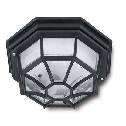 Immagine di Applique lanterna a 8 facce, in alluminio, E27-100 W, 26,6x26,6x12,8 cm, colore nero