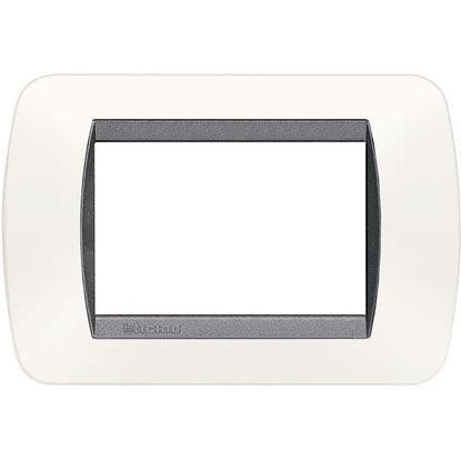 Immagine di Placca 3 posti, plastica, Living Int., bianco