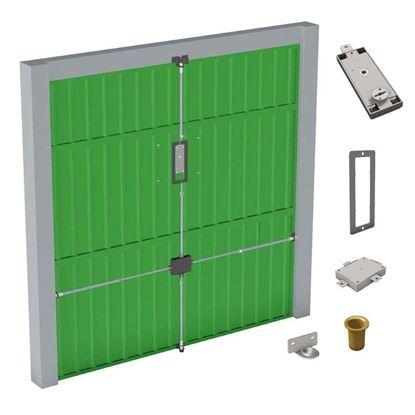 Immagine di Kit garage, serratura doppia mappa, colpleto di serratura garage, piastra di rinvio, asta al deviatore,