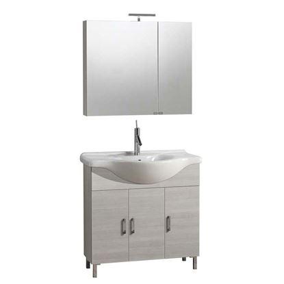 Immagine di Composizione Nico base 3 ante, lavabo in ceramica 85x48xh86cm specchio contenitore 2 ante 81x15xh70 cm luce a LED larice