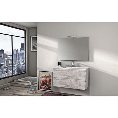 Immagine di Mobile bagno Ultra 100cm 2 cassetti lavabo ceramica specchio 100x70cm applique a led bianco op frontali pino sbiancato
