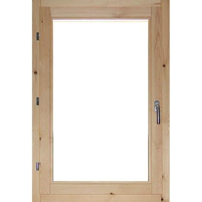 Immagine di Finestra in legno pino massiccio 1 anta, doppio vetro antisfondamento, 80xh120 cm, DX