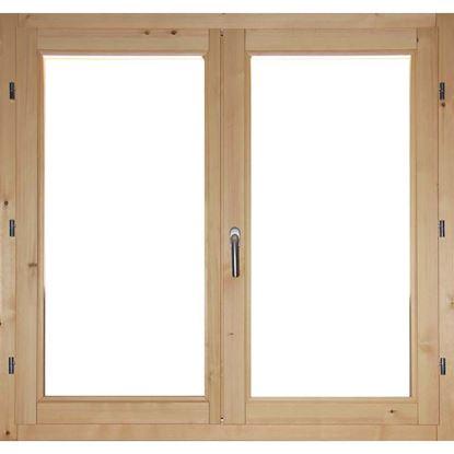 Immagine di Finestra in legno pino massiccio 2 ante, doppio vetro antisfondamento, 120xh120 cm
