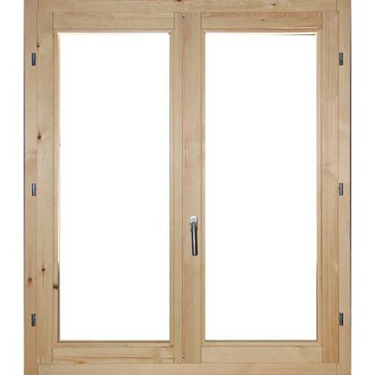Immagine di Finestra in legno pino massiccio 2 ante, doppio vetro antisfondamento, 100xh140 cm