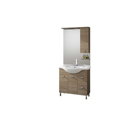 Immagine di Composizione londra 85 cm, dx, specchio con illuminazione a led, 85x48xh195,5 cm, colore rovere nabucco