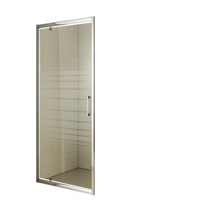 Immagine di Porta battente, profilo alluminio bianco, cristallo piumato, spessore 6 mm, h195 cm, 78/81 cm