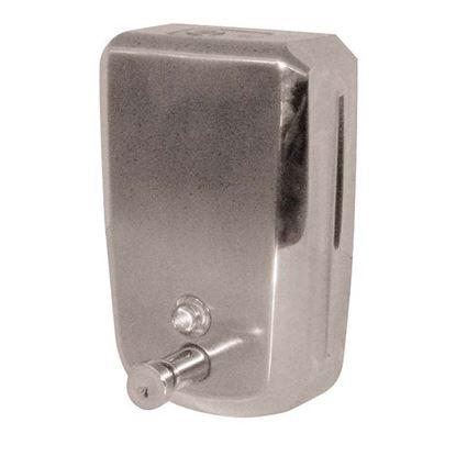 Immagine di Distributore di sapone liquido Brinox, in acciaio inox AISI 304 sistema push per tutti i sapon salvo microgranuli 1,2lt