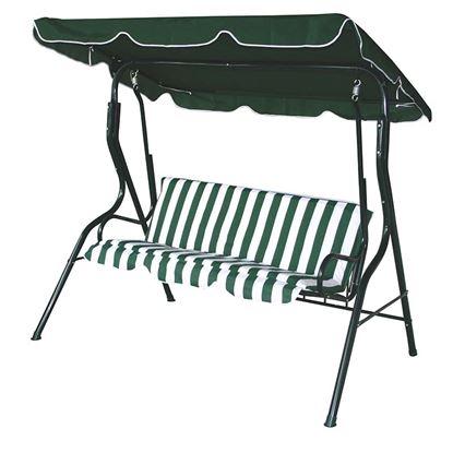 Immagine di Dondolo verde sorrento, 3 posti, copertura in poliestere, 170x115xh152 cm