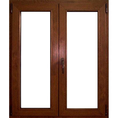 Immagine di Finestra pvc 2 ante 6 camere, doppio vetro, 140x140 cm, colore noce