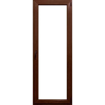 Immagine di Portafinestra pvc 1 anta 6 camere, doppio vetro, 80x220 cm, colore noce