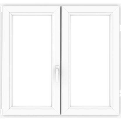 Immagine di Finestra pvc 2 ante 6 camere, doppio vetro, 120x120 cm, colore bianco