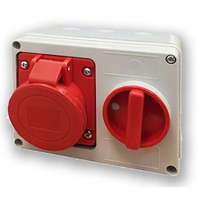 Immagine di Presa interbloccata orizzontale 16A, 3P+N+T, colore rosso, 6h, IP44, 380-415V
