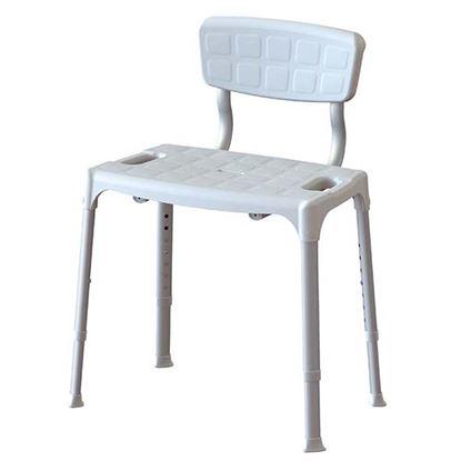 Immagine di Sedia da doccia con schienale regolabile, antiscivolo, forata, gambe in alluminio anodizzato telescopiche 39/54 cm