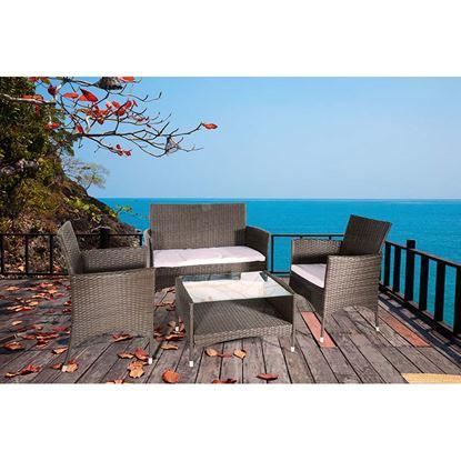 Immagine di Set Caprera in poly-rattan, composto da: divano 2 posti, 2 poltrone, tavolo con piano in vetro temperato trasparente, colore marrone/ecru