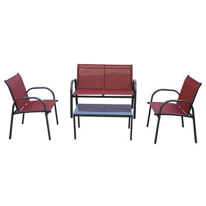 Immagine di Set Panama, in metallo e textilene, composto da: 2 poltrone 58x62xh80 cm, divano 2 posti 100x62xh80 cm, tavolino 80x45xh37 cm vetro spessore 8 mm, colore rosso