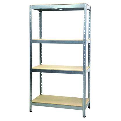 Immagine di Scaffale 4 ripiani Kit Joker, legno-metallo, zincato, 120x50x180 cm, 300 kg per ripiano, montaggio ad incastro