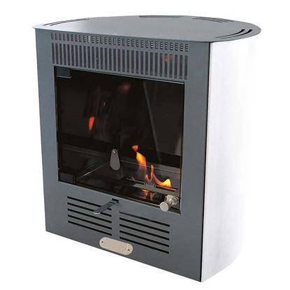 Immagine di Stufa a bioetanolo Ruby Smart Ventilata 2300 W, capacità riscaldamento 70 m³, serbatoio 1,5 lt, colore bianco
