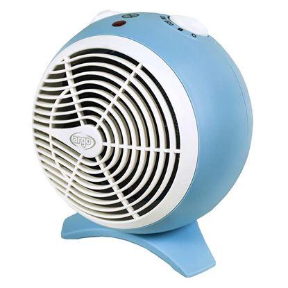 Immagine di Termoventilatore Argo Kira con resistenza a filo, Eco/comfort, consumo 1000/2000W, controllo automatico della temperatura, azzurro polvere
