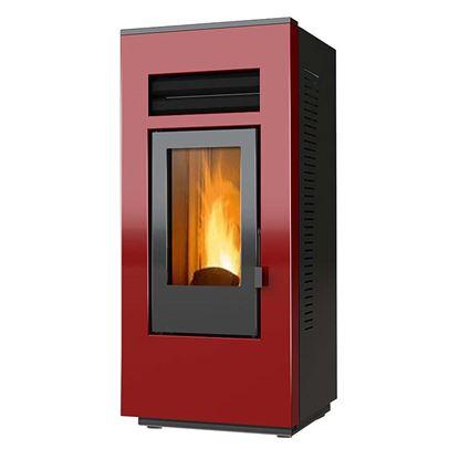 Immagine di Stufa a pellet Optima One 12 kW, braciere in ghisa, focolare vermiculite, doppio fascio tubiero acciaio inox, colore rosso