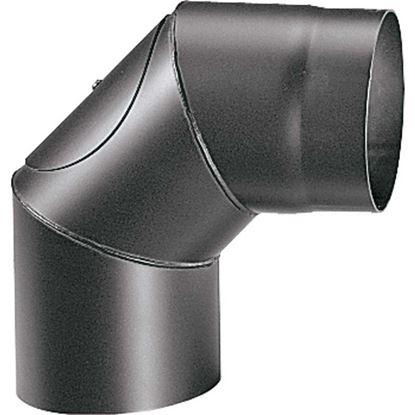Immagine di Curva 90° per stufa a legna spessore 2 mm, con ispezione, colore nero, Ø120 mm