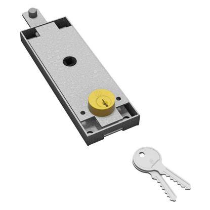 Immagine di Serratura per basculante, centrale, cilindro tondo, catenaccio diritto, 2 chiavi