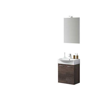 Immagine di Composizione Mini 50 cm, lavabo in ceramica, 2 ante, specchio con lampada a led, 50x40x190 cm, colore rovere scuro