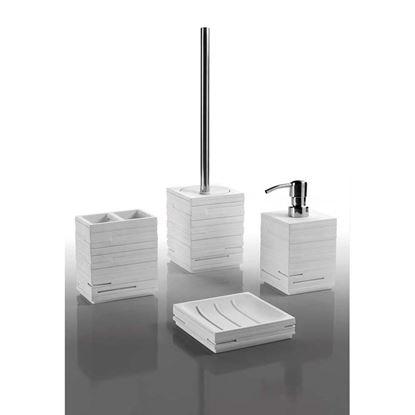 Immagine di Porta spazzolini, quadrotto bianco, sacchetto